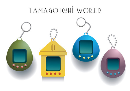 nostalgia: Vector Collection of four different tamagotchi games isolated on black background Illustration