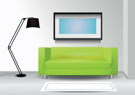 green carpet: Realistic green sofa with floor lamp, carpet and photoframe on the wall. Interior vector illustration