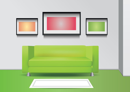 comercial: Realistic green sofa with floor  lamp, carpet and photoframe on the wall. Interior vector illustration Illustration