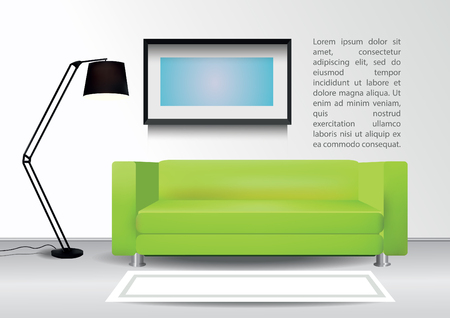 comercial: Realistic green sofa with lamp, white carpet and  photoframe on the wall. Interior vector illustration