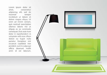 comercial: Realistic green armchair with floor lamp,  carpet and  photoframe on the wall. Interior vector illustration