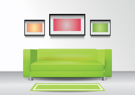 Realistic green sofa with  carpet and three photoframes on the wall. Interior vector illustration