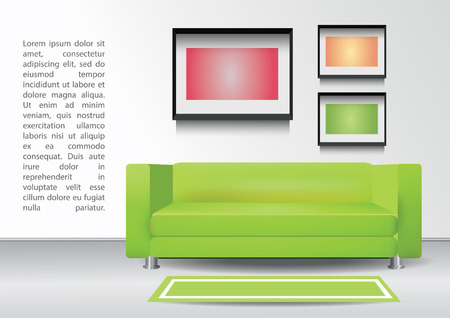 green carpet: Realistic green sofa with  carpet and three photoframes on the wall. Interior vector illustration