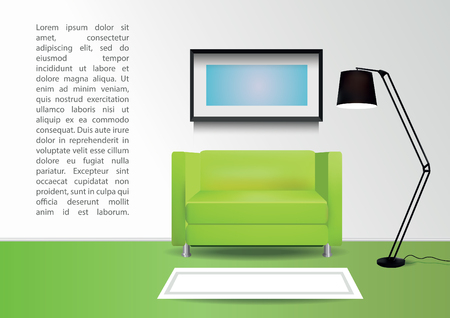 green carpet: Realistic green armchair with  carpet , lamp and  photoframe on the wall. Interior vector illustration
