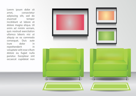 Realistic two green armchairs with two carpets and three  photoframes on the wall. Interior vector illustration