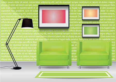 armchairs: Realistic two green armchairs with carpet and three  photoframes on the wall. Interior vector illustration
