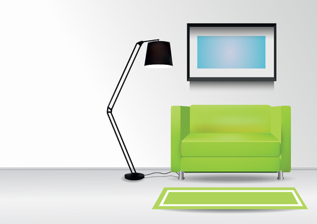 comercial: Realistic green armchair with  carpet , lamp and  photoframe on the wall. Interior vector illustration