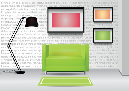 comercial: Realistic green armchair with  carpet , floor lamp and  three photoframes on the wall. Interior vector illustration