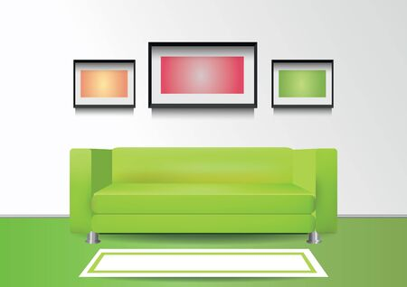 Realistic green sofa with white carpet and three photoframes on the wall. Interior vector illustration Stock Illustratie