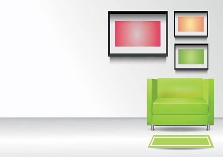 comercial: Realistic green armchair with  carpet  and  three photoframes on the wall. Interior vector illustration