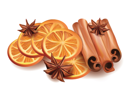 anice: Vector Realistic Illustration of Orange Slices, Cinnamon Sticks and Star Anice Isolated on White Background. Illustration