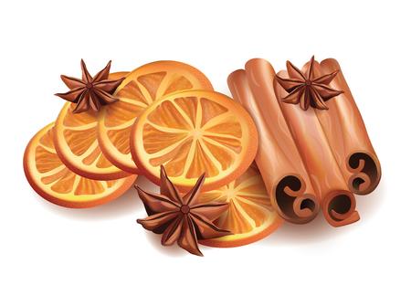 orange slices: Vector Realistic Illustration of Orange Slices, Cinnamon Sticks and Star Anice Isolated on White Background. Illustration