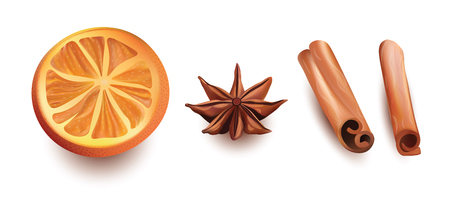 cinnamon sticks: Vector Realistic Isolated Set of Orange Slice, Cinnamon Sticks and Star Anice on White Background.