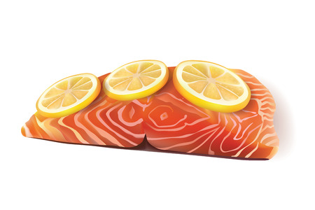 salmon fillet: Vector Realistic Fresh Salmon Fish Fillet Cooked with Lemon Slices On the Top. Isolated on White Background illustration Illustration