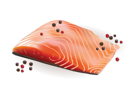 salmon fillet: Vector Realistic Fresh Raw Salmon Slice Fillet with Red and Black Paper.Isolated on White Background illustration Illustration