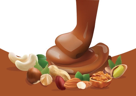 filberts: Vector Realistic Liquid Melted Pouring Chocolate and Different Nuts. Isolated on White and Brown Background Template