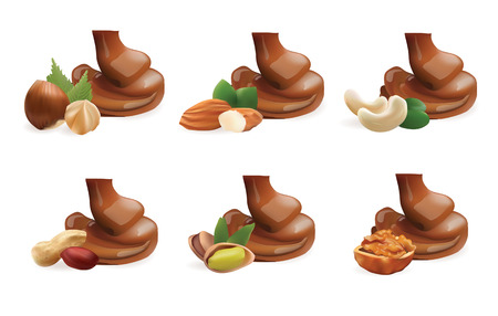 Vector Realistic Collection of Liquid Melted Pouring Chocolate and Different Nuts. Isolated on White Background Иллюстрация
