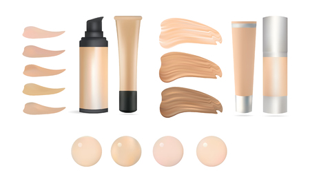 body care: Vector Realistic Make Up Foundation Bottles and Containers with Color Shades Palette. Illustration Of Beauty Product Package, Template. Isolated On White Background.