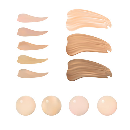 Ilustración de color de la paleta de sombras para la Fundación Make Up. Aislado en el fondo blanco. Foto de archivo - 52891621