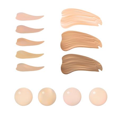 liquido: Ilustración de color de la paleta de sombras para la Fundación Make Up. Aislado en el fondo blanco.