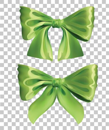 braiding: Vector Two Green Bow Set  Isolated