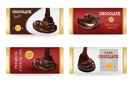 package design: Chocolate bar Design Templates Isolated On White Background. Liquid Puoring Chocolate and Text on the Packaging Illustration