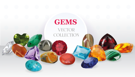 topaz: Vector Realistic Gems Jewelry Stones Big Collection Composition On White Background