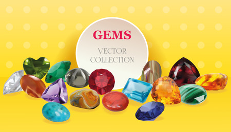 jasper: Vector Realistic Gems Jewelry Stones Big Collection Composition On Yellow Background