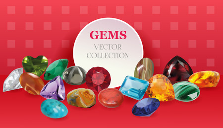 jasper: Vector Realistic Gems Jewelry Stones Big Collection Composition On Red Background Illustration