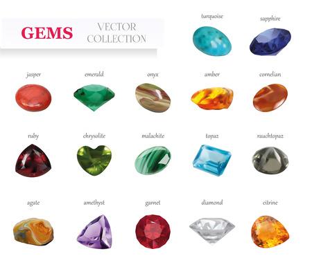 Vector Realistische Gems Schmucksteine ??Große Sammlung. Isoliert auf weißem Hintergrund