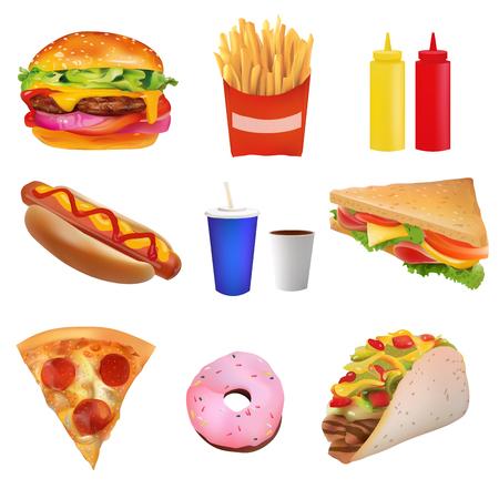 Realista del vector Conjunto de comida rápida. Burger, Pazza, Taco, bebida, café, papas a la francesa, perrito caliente, sándwich, buñuelo, salsa de tomate, mostaza. Aislado en el fondo blanco