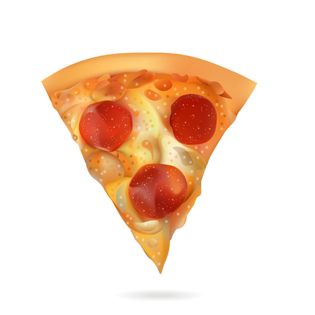 Vector Realistic Pizza Slice Illustration . Isolated On White Background