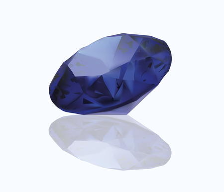 stetting: Sapphire Realistic Illustration. Blue Jewelry. Isolated On White Background