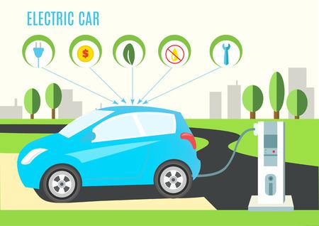 Azul eléctrico híbrido de coches de carga Ilustración en el camino y al paisaje de la ciudad. Los iconos con enchufe, dinero, ecológico, aceite y llave.