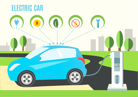 electric blue: Electric Blue Hybrid Car Charging Illustration on the Road and City Landscape. Icons with plug, money, eco, oil and wrench.