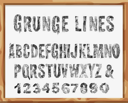 handdrawn: Handdrawn Font. Alphabet and Numbers with Grunge Lines and Strokes. Scribble design. Isolated On White School Desk Background Illustration