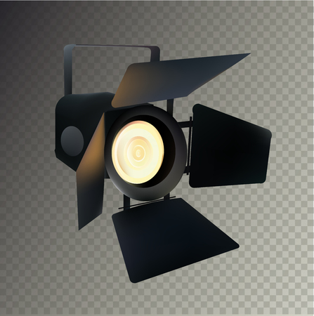 photo realism: Realistic Transparent Spotlight for Show and Scene. Isolated Illustration