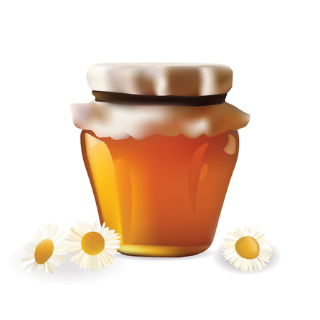 curative: Honey Jar with Chamomille . Isolated On White Background Vector illustration Icon