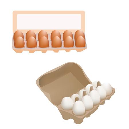 huevo caricatura: Los huevos de gallina frescos en caja del paquete aislado en blanco de fondo del icono Vectores