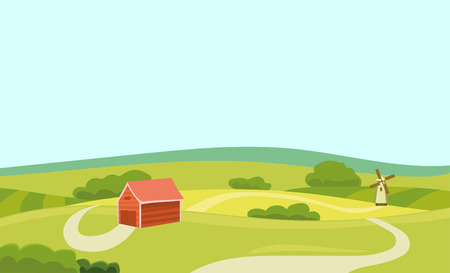 beef: Farm Vector Flat Illustration. Field and House. Agriculture and Fresh Natural Food Concept. Countryside Landscape