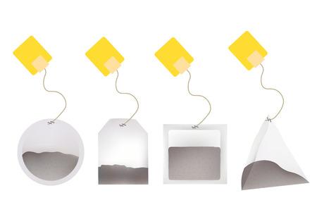 Bolsas de té con la ilustración de las etiquetas en la ronda, rectángulo, cuadrado, pirámide Formas. Plantilla de vectores ilustración para su diseño. Aislado en el fondo blanco. Ilustración de vector