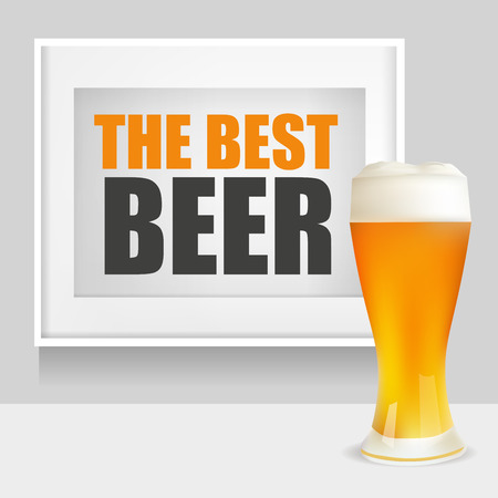patrics: Realistic Glass of Beer and Frame with The Best Beer Text. Vector Illustration.