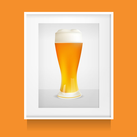 patrics: Realistic Glass Of Beer In White Frame, Photoframe. Vector Illustration