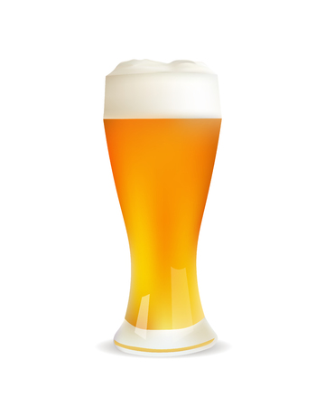 Realistic Glass Of Beer. Isolated Vector Icon or Illustration Illustration