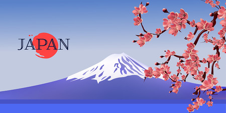 red sun: Japan Vector Landscape with Fuji Mountain and Cherry Tree Sakura and Red Sun.