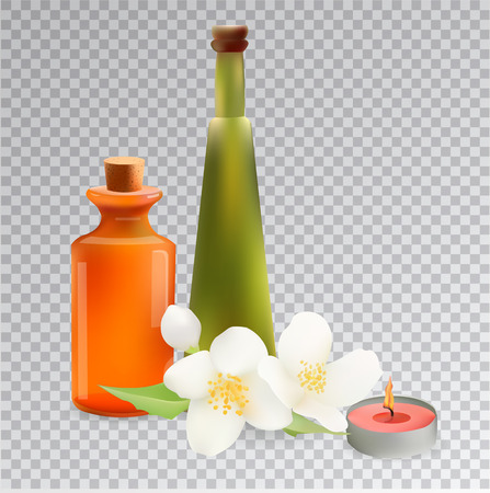 Glass Cosmetic Bottles and Candle with Jasmine. Vector Isolated  Illustration. Template Elements for Cosmetic Shop, Spa Salon, Beauty Products Package, Medical Care Treatment.