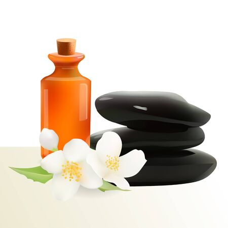 stacked stones: Glass Cosmetic Bottle and Spa Stones with Jasmine Flower. Vector Isolated  Illustration. Template Elements for Cosmetic Shop, Spa Salon, Beauty Products Package, Medical Care Treatment.