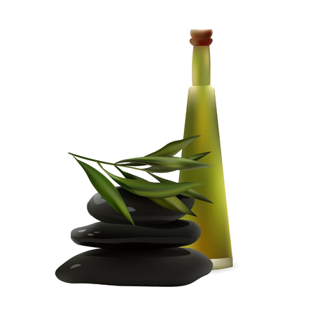 tea tree: Glass Cosmetic Bottle and Spa Stones with Tea Tree with Leaves. Vector Isolated  Illustration. Template Elements for Cosmetic Shop, Spa Salon, Beauty Products Package, Medical Care Treatment.