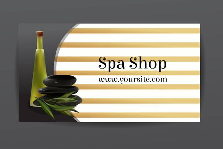 tea tree: Oil Cosmetic Bottle with Spa Stones and Tea Tree . Template  Cosmetic Shop, Spa Salon, Beauty Products Package, Medical Care Treatment. Invitation Cards, Vouchers, Advertisement, Business. Illustration