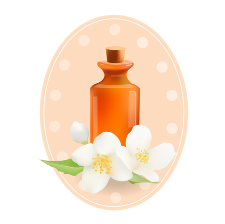 beauty products: Glass Cosmetic Bottle with Jasmine. Vector Isolated  Illustration. Template Elements for Cosmetic Shop, Spa Salon, Beauty Products Package, Medical Care Treatment.